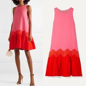 Lela rose wool blend crepe flounce dress